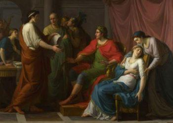 1787年由藝術家繪製的《維吉爾對奧古斯都和屋大薇朗誦埃涅阿斯紀》,現藏倫敦國家美術館。(公有領域)