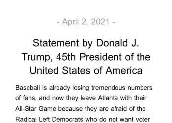 川普總統4月2日發表聲明呼籲抵制左派大公司